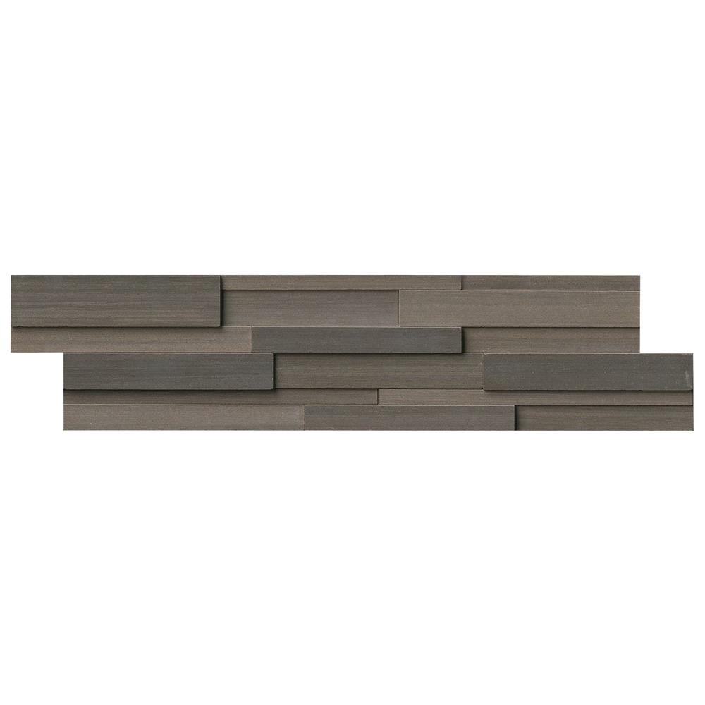 Brown Wave 3D Ledger Panel 6 in. x 24 in. Honed