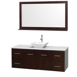 Wyndham Collection Centra 60 inch Vanity in Espresso with Solid-Surface Vanity Top in White, Porcelain Sink and 58 inch... by Wyndham Collection