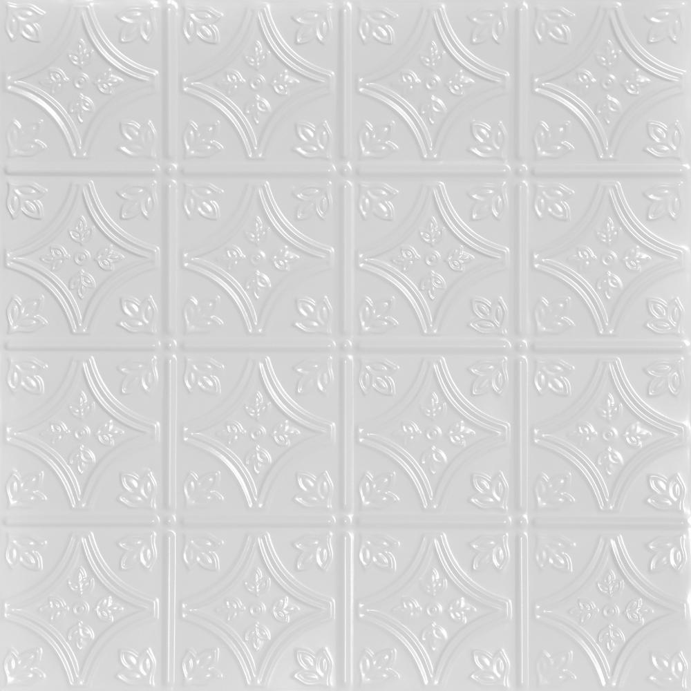 From Plain To Beautiful In Hours Tiny Tiptoe 2 Ft X 2 Ft Nail Up Tin Ceiling Tiles Surface Mount White 12 Pack 48 Sq Ft Case Skpc209 Wh 24x24 N 12 The Home Depot