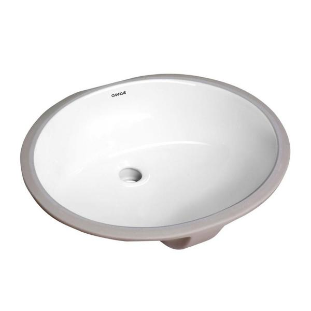 17 in. x 14 in. Oval Undercounter Bathroom Ceramic Vanity Sink 1601W in White