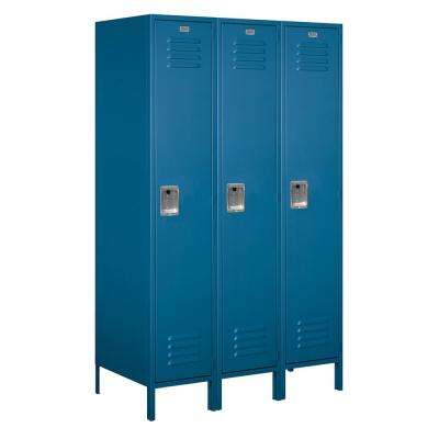 18-51000 Series 3 Compartments Single Tier 54 In. W x 78 In. H x 21 In. D Metal Locker Assembled in Blue