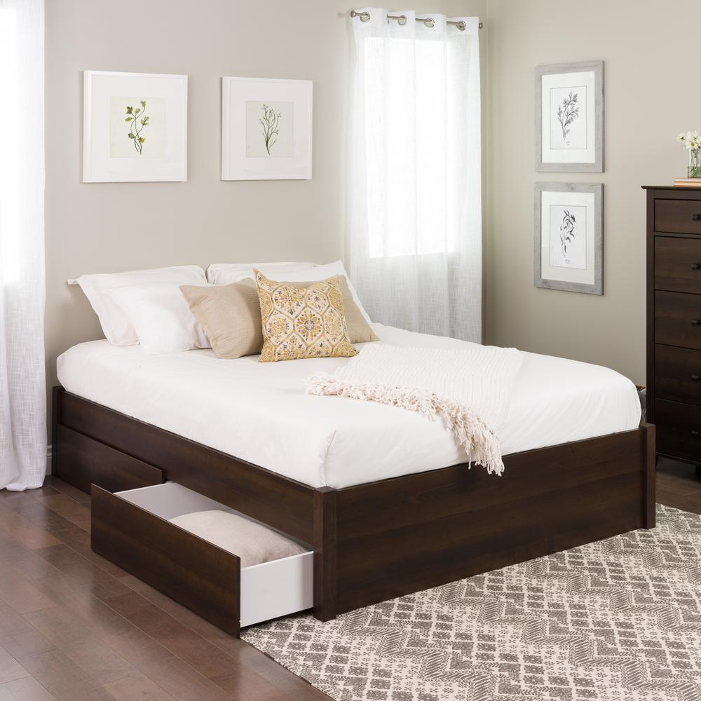 Prepac Select Espresso Queen 4 Post Platform Bed With 4 Drawers Ebsq