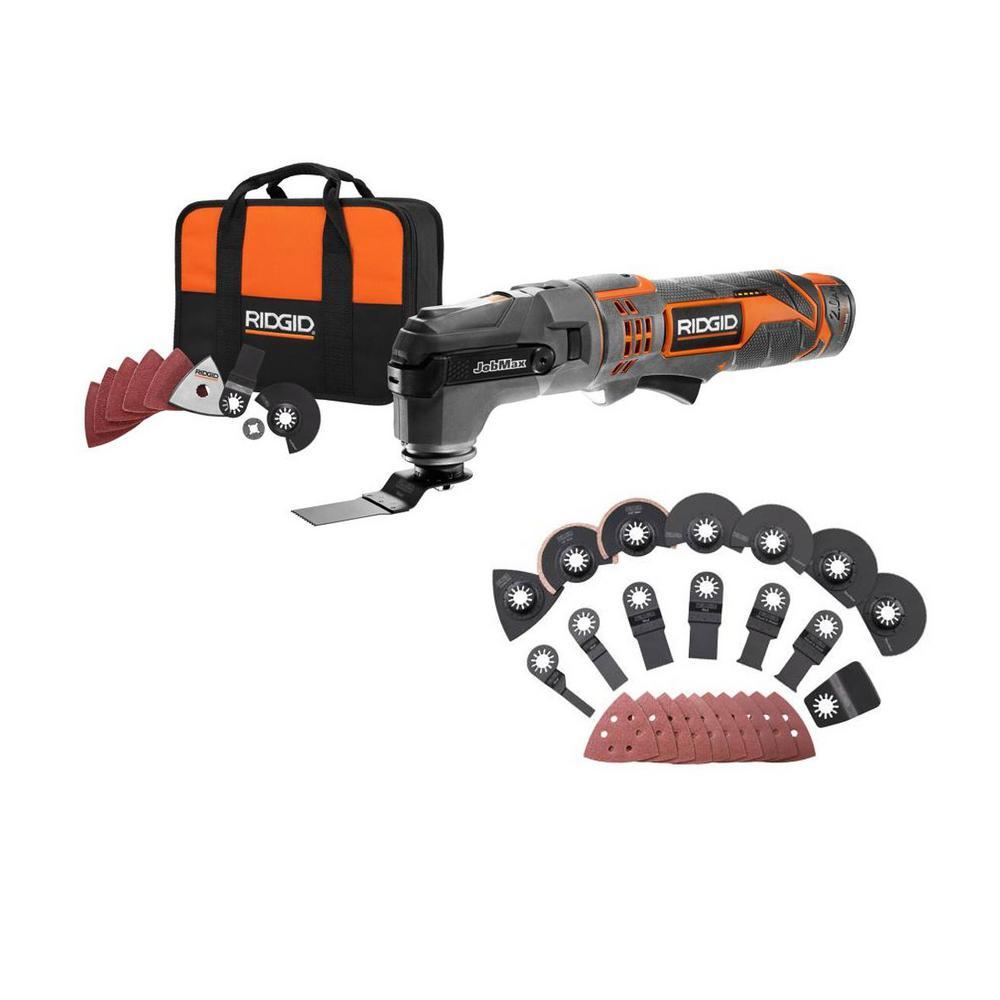 12-Volt JobMax Multi-Tool with Tool-Free Head with JobMax Oscillating Multi-Tool Blade Accessory Kit (14-Piece)