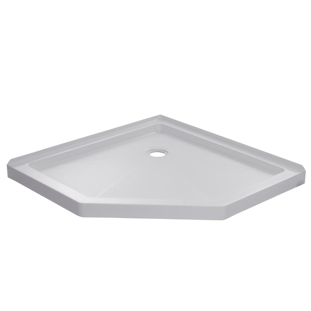 Neo Angle Shower Base.Foremost 42 In X 42 In Single Threshold Neo Angle Shower Base In White