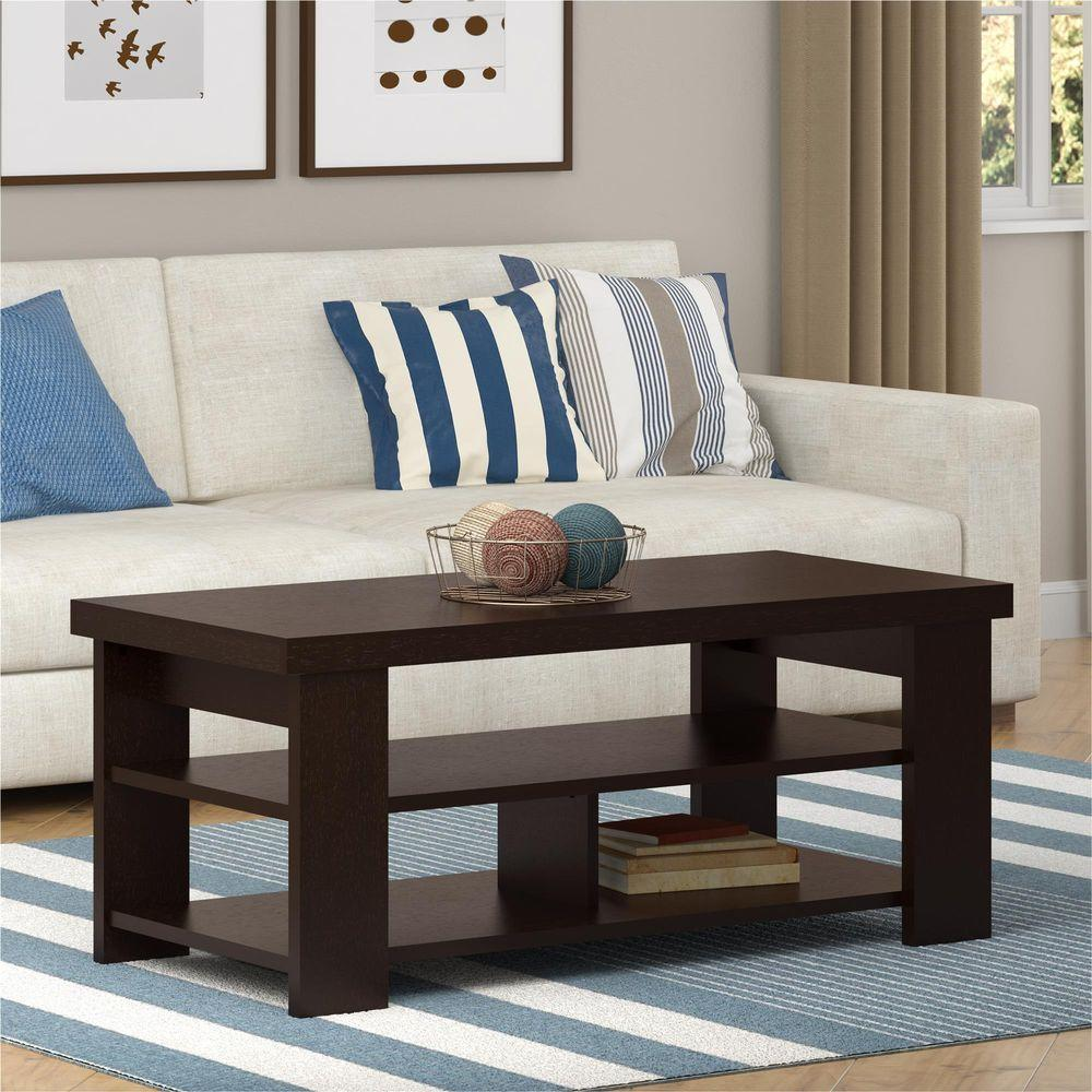 Ameriwood Home Vantage Espresso Built In Storage Coffee Table Hd40586 The Depot