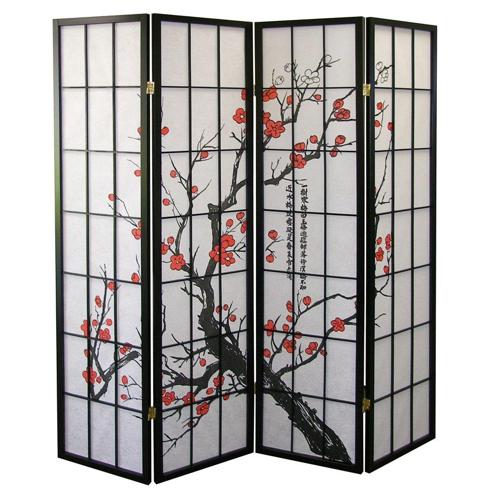 Home Decorators Collection 5.83 ft. Black 4-Panel Room Divider