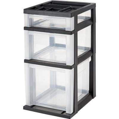12.08 in. x 24 in. Black Medium 3-Drawer Cart with Organizer Top