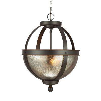 Sfera 13.5 in. W. 2-Light Autumn Bronze Semi-Flushmount Convertible Pendant with LED Bulbs
