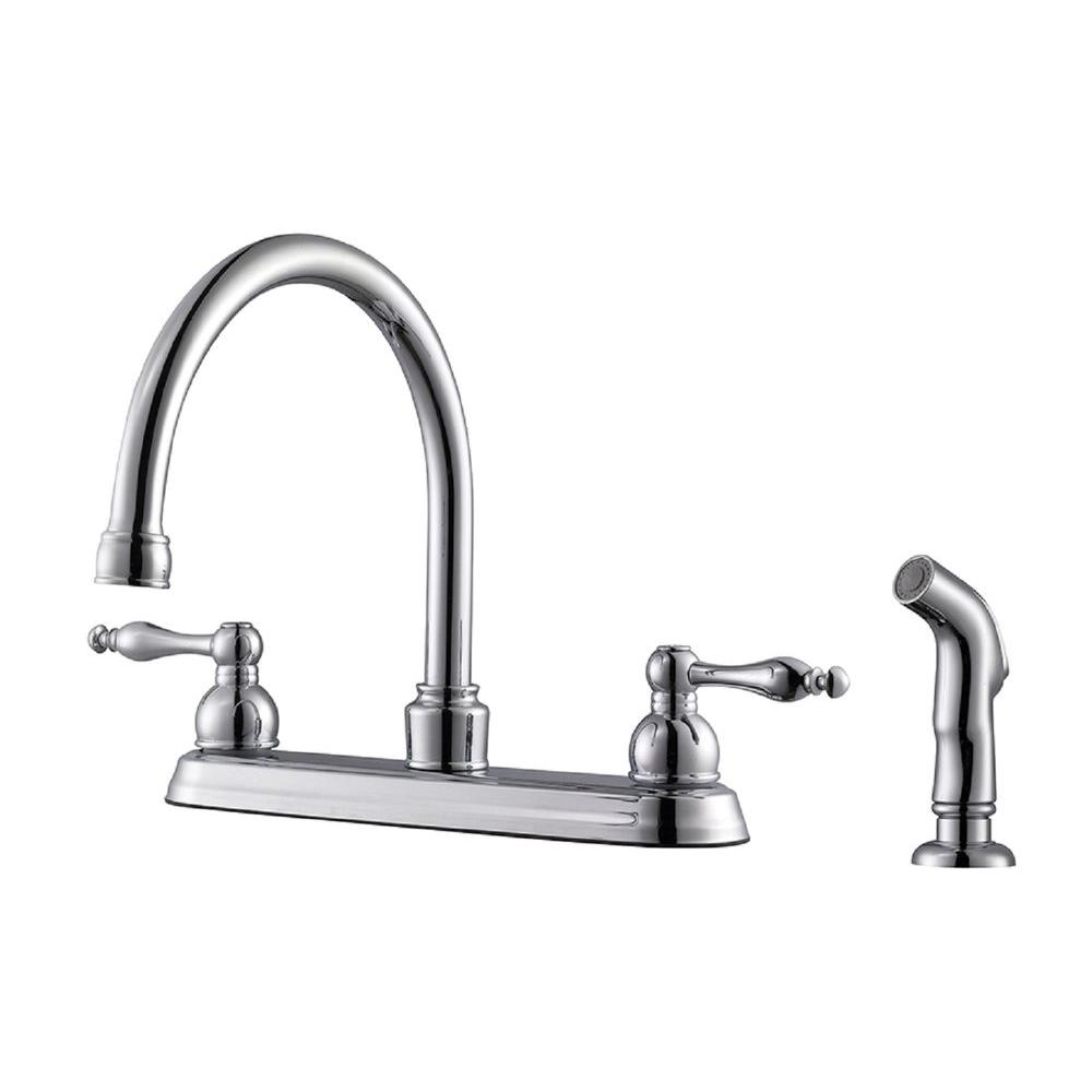 Design House Saratoga 2 Handle Standard Kitchen Faucet With Side Sprayer In Polished Chrome