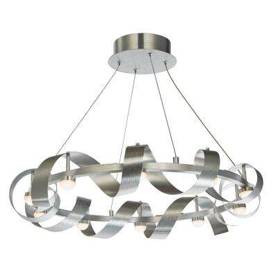 10-Light Brushed Aluminum Chandelier