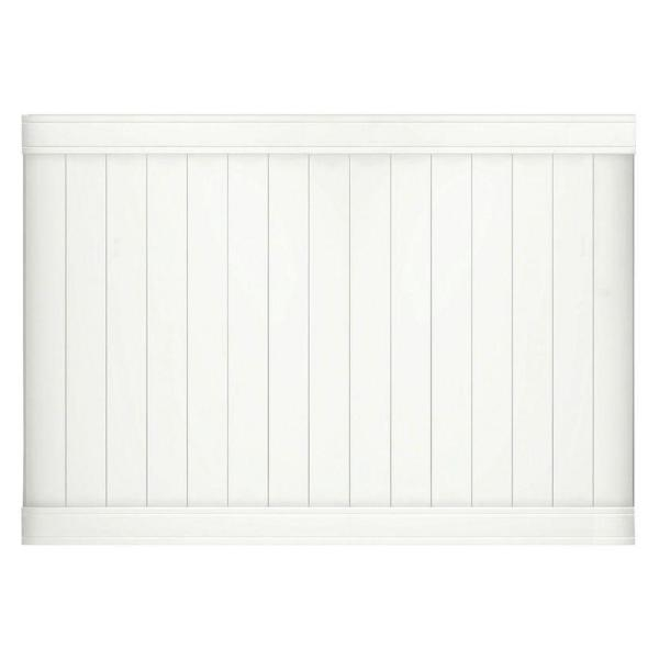 Pro-Series 5 ft. H x 8 ft. W White Vinyl Woodbridge Privacy Fence Panel