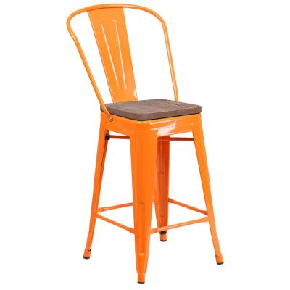 24.25 in. Orange Bar Stool