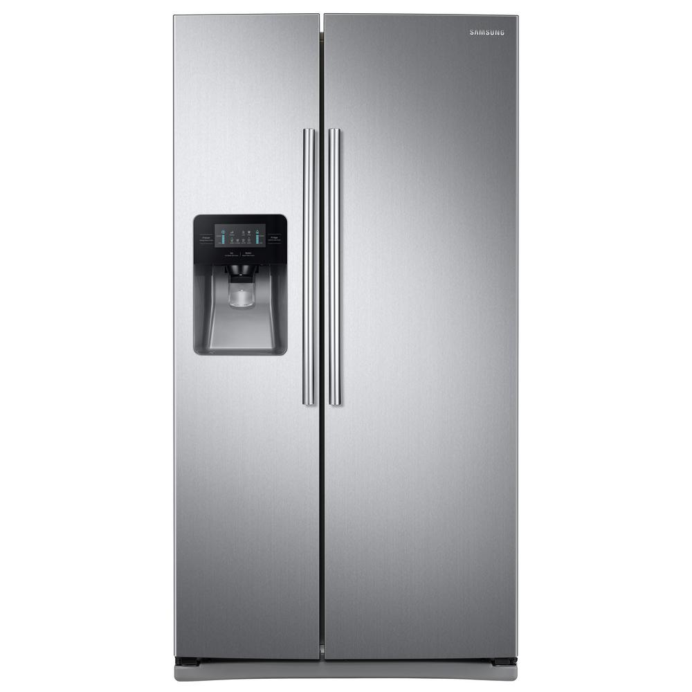 samsung 24 5 cu ft side by side refrigerator in stainless steel rs25j500dsr the home depot. Black Bedroom Furniture Sets. Home Design Ideas
