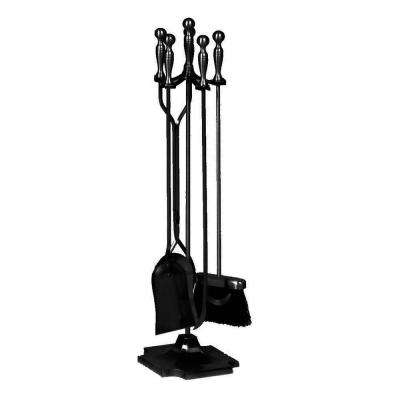 Black 5-Piece Fireplace Tool Set with Ball Handles