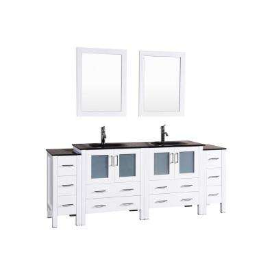 84 in. W Double Bath Vanity in White with Tempered Glass Vanity Top with Black Basin and Mirror