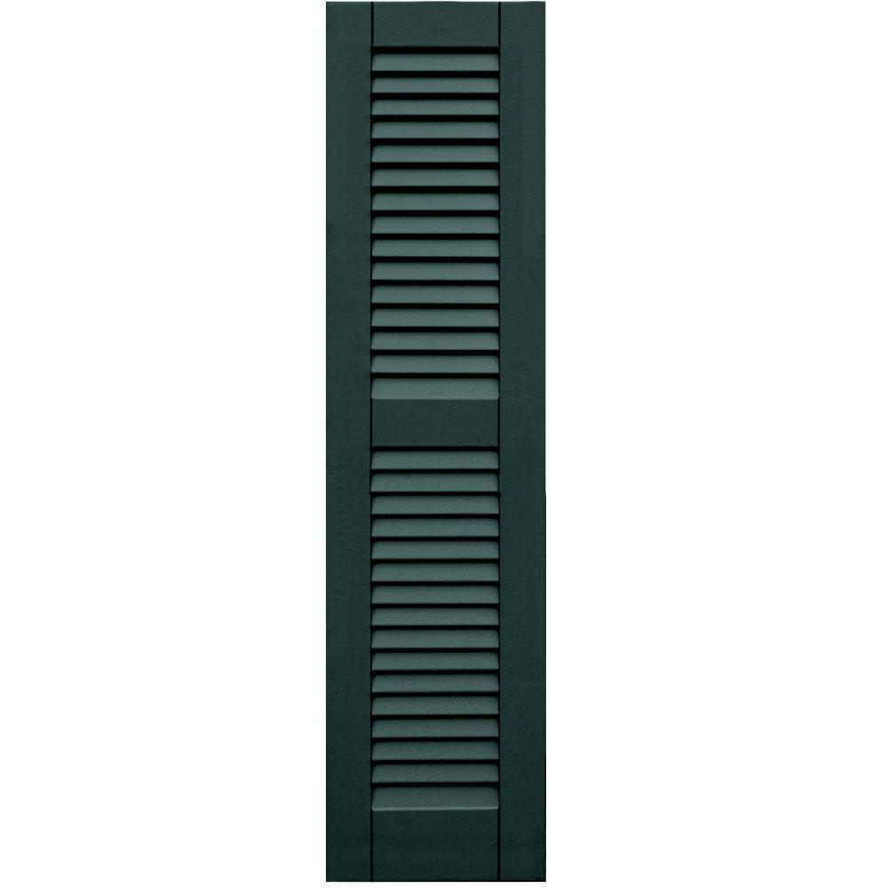 Winworks Wood Composite 12 in. x 48 in. Louvered Shutters Pair #638 Evergreen
