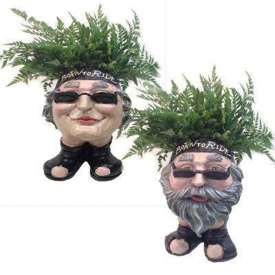 13 in. H Biker Dude and Babe Painted Muggly Face Planter in Motorcycle Attire Statue Holds 4 in. Pot
