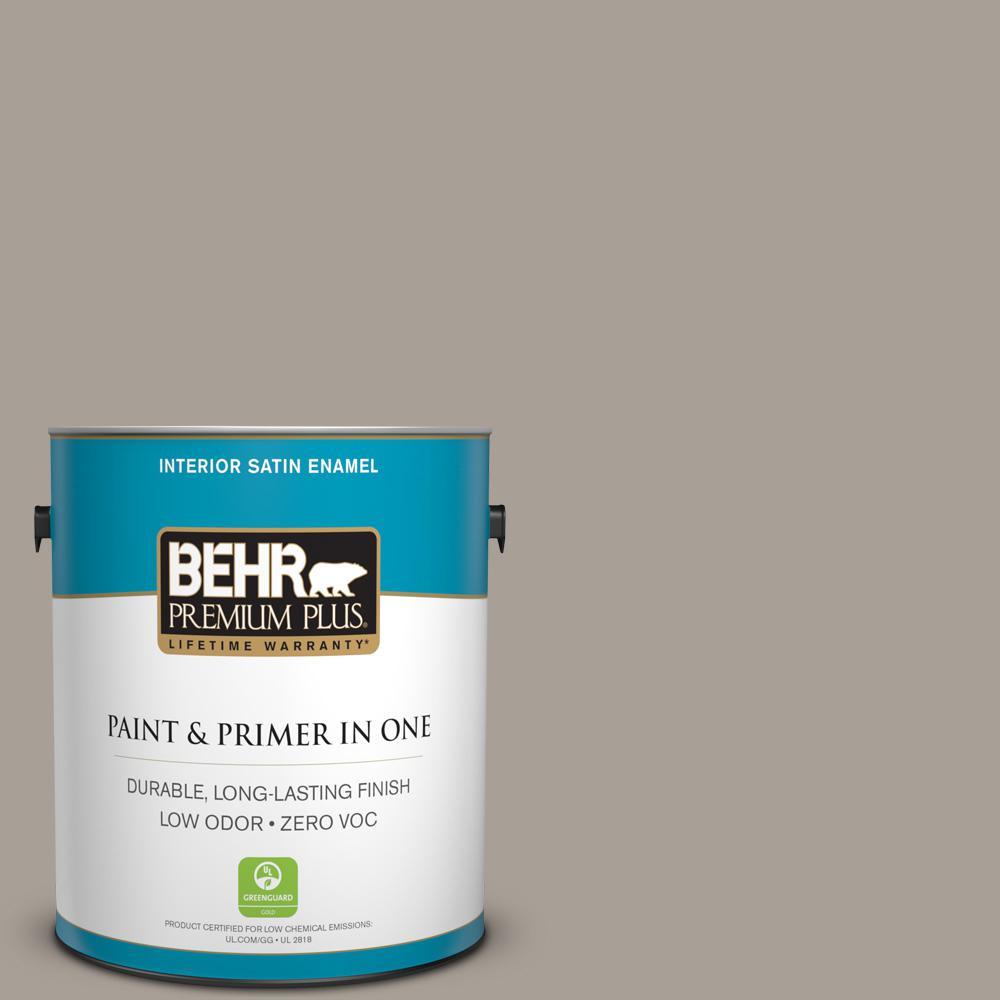 1 gal. #PPU24-09 True Taupewood Zero VOC Satin Enamel Interior Paint