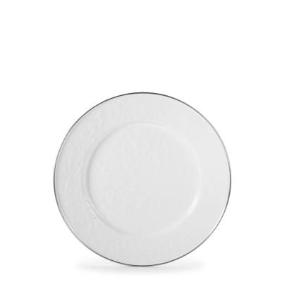 8.5 in. Solid White Enamelware Round Sandwich Plate Set of 4