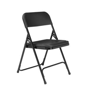 Black Plastic Seat Stackable Outdoor Safe Folding Chair (Set of 4)