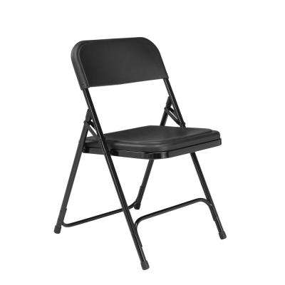 NPS 800 Series Premium Black Lightweight Plastic Folding Chair (Pack of 4)