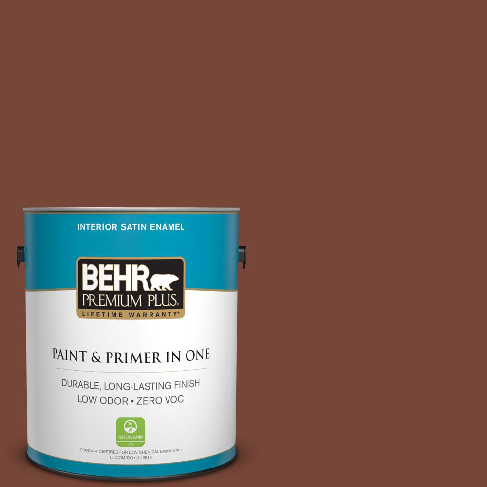BEHR Premium Plus 1-gal. #S200-7 Earth Fired Red Satin Enamel Interior Paint