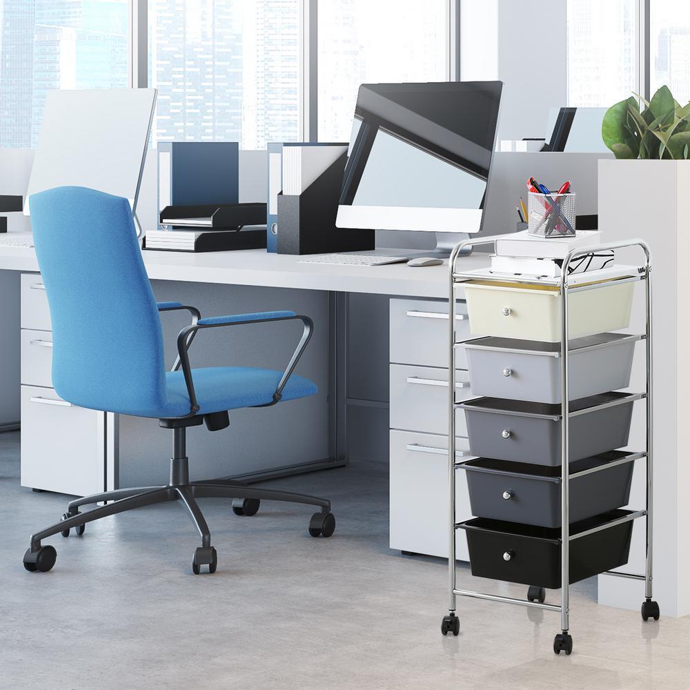 Wayar 5-Shelf Chrome 4-Wheeled 5-Drawer Trolley in White and Black
