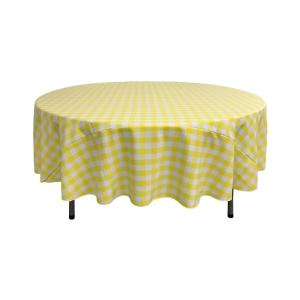 90 in. White and Light Yellow Polyester Gingham Checkered Round Tablecloth