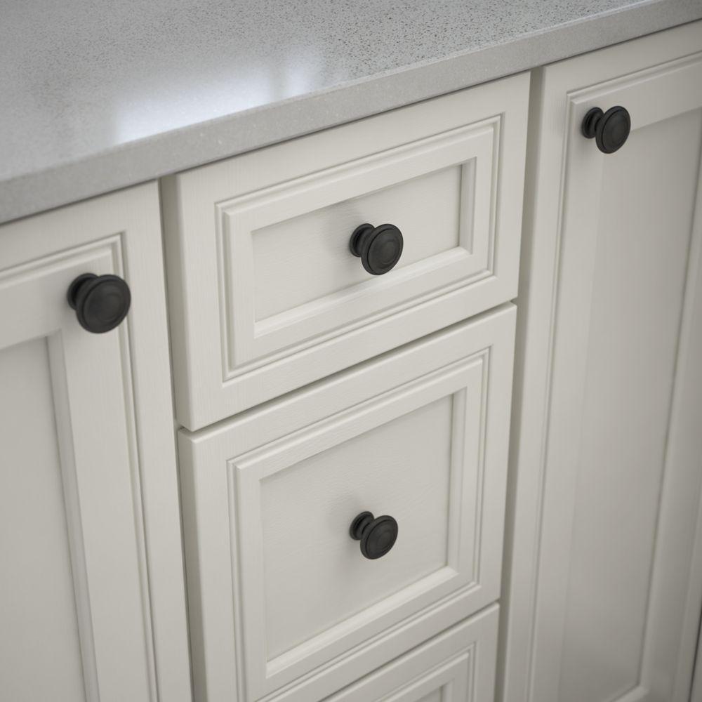 Harmon 1-3/8 in. (35mm) Matte Black Round Cabinet Knob