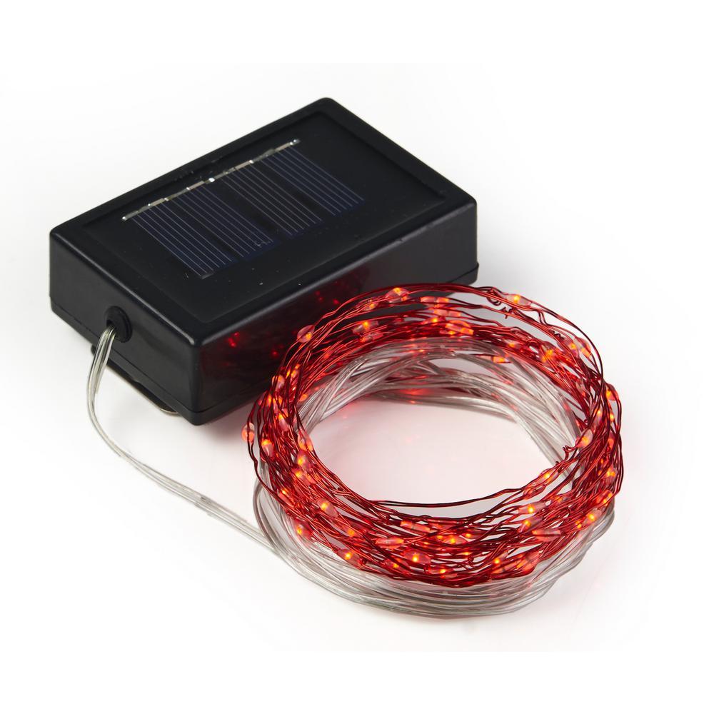 20 ft. 100-Micro LED Solar String Light in Red