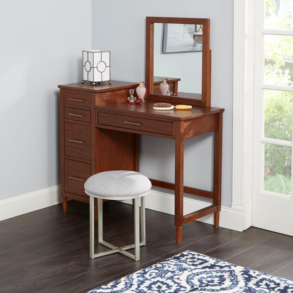 Mia Gray Upholstered Gray and White Metal Round Vanity Seat