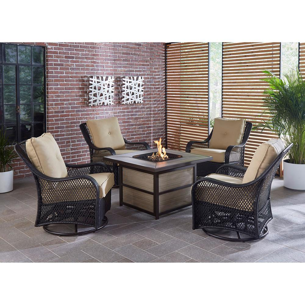 Patio Furniture Conversation Sets With Fire Pit.Envelor Hanover Orleans 5 Piece Steel Patio Fire Pit Conversation Set With Sahara Sand Cushions