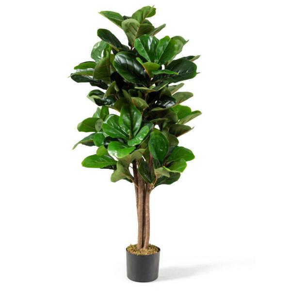 4ft Green Artificial Fiddle Leaf Fig Tree Indoor Outdoor Office Decorative Planter