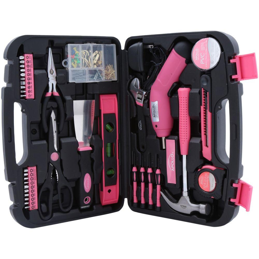 Apollo 135-Piece Household Tool Kit in Pink