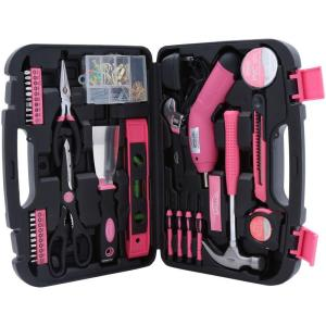 Click here to buy Apollo 135-Piece Household Tool Kit in Pink by Apollo.