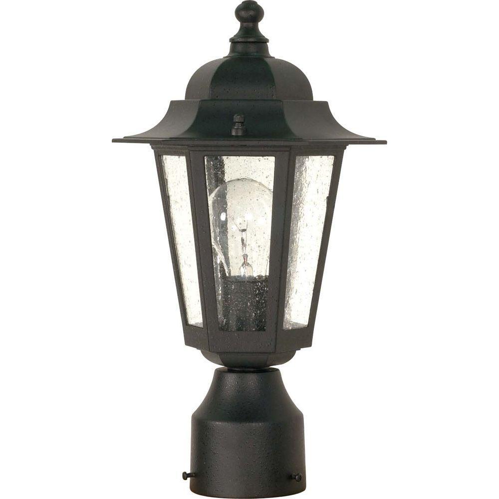 1-Light Outdoor Textured Black Incandescent Post Light
