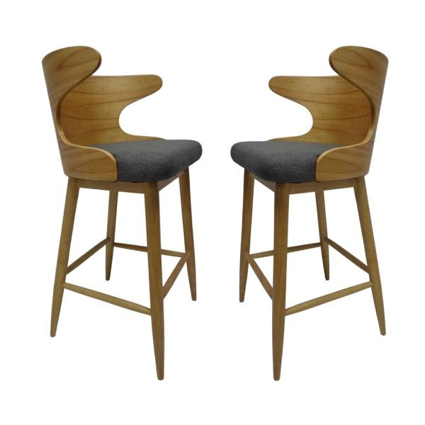Kamryn Mid-Century Modern 30.25 in. Natural Wooden Bar Stools with Charcoal Fabric Seat Cushion (Set of 2)