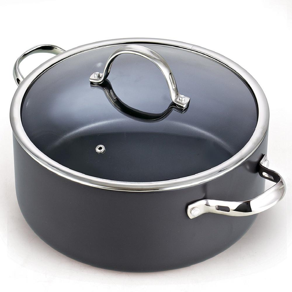 7 Qt. Non-Stick Hard Anodized Dutch Oven Casserole Stockpot with Lid