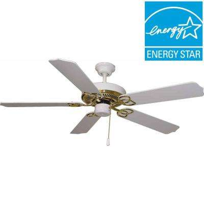 Lenor 52 in. Polished Brass and White Indoor Ceiling Fan
