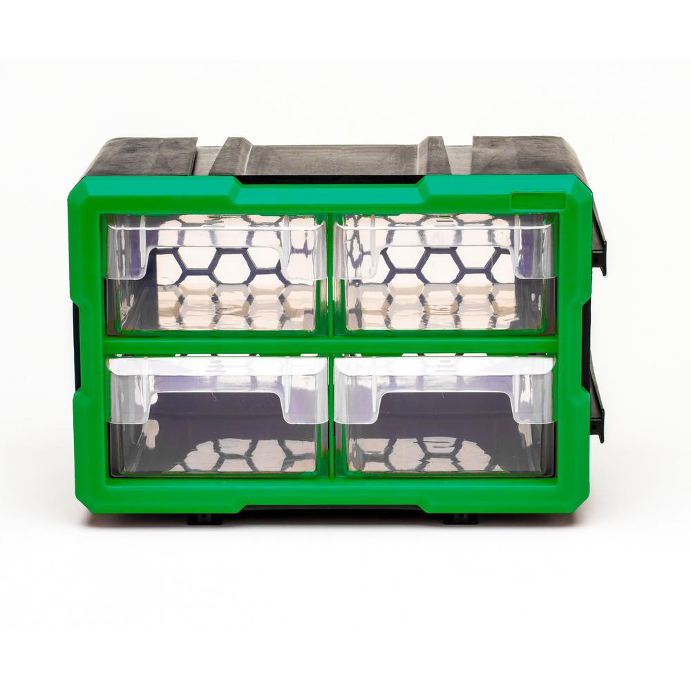 4-Compartment Interlocking Small Parts Organizer, Green or Black