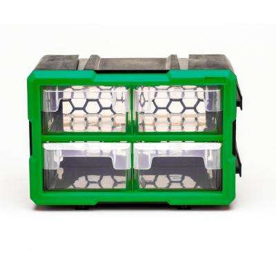 4-Compartment Interlocking Small Parts Organizer, Green or Black