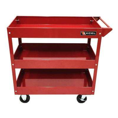 29 in. W x 15.1 in. D x 30.7 in. H Steel Tool Cart, Red