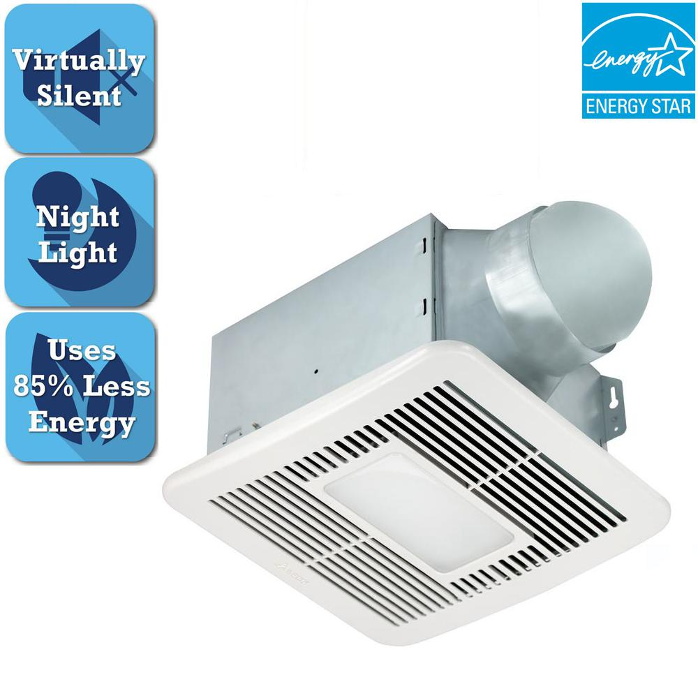 Delta breez smart series 150 cfm ceiling bathroom exhaust fan with led light and night light for Bathroom exhaust fan with led light