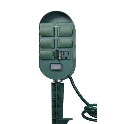 13-Amp 2-4-6-8 Hour Outdoor Plug-In Wireless Remote Photocell 6-Outlet Yard Stake Timer with 6 ft. Cord, Green