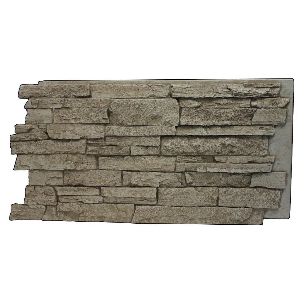 Creamy Beige 24-3/4 in. x 48-3/4 in. x 1-1/4 in. Faux Mountain Ledge Stone Panel
