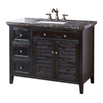 Cornelia 44 in. W x 21 in. D Vanity in Mahogany Finish with Marble Vanity Top in Black Swirl with White Basin