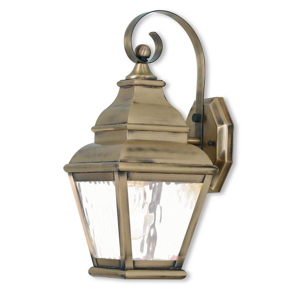 Exeter 1-Light Antique Brass Outdoor Wall Mount Lantern