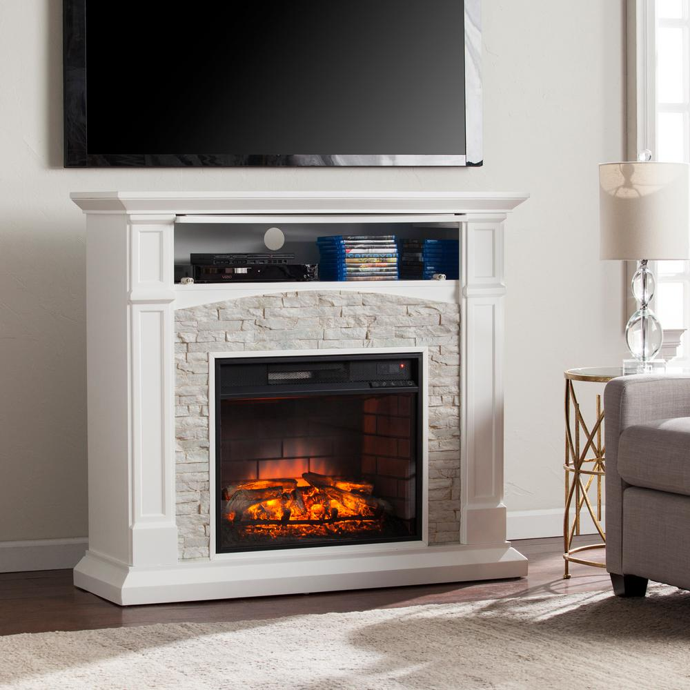 Add an elegant and colorful look to your home by using Southern Enterprises Conway Infrared Electric Media Fireplace in White with White Faux Stone.