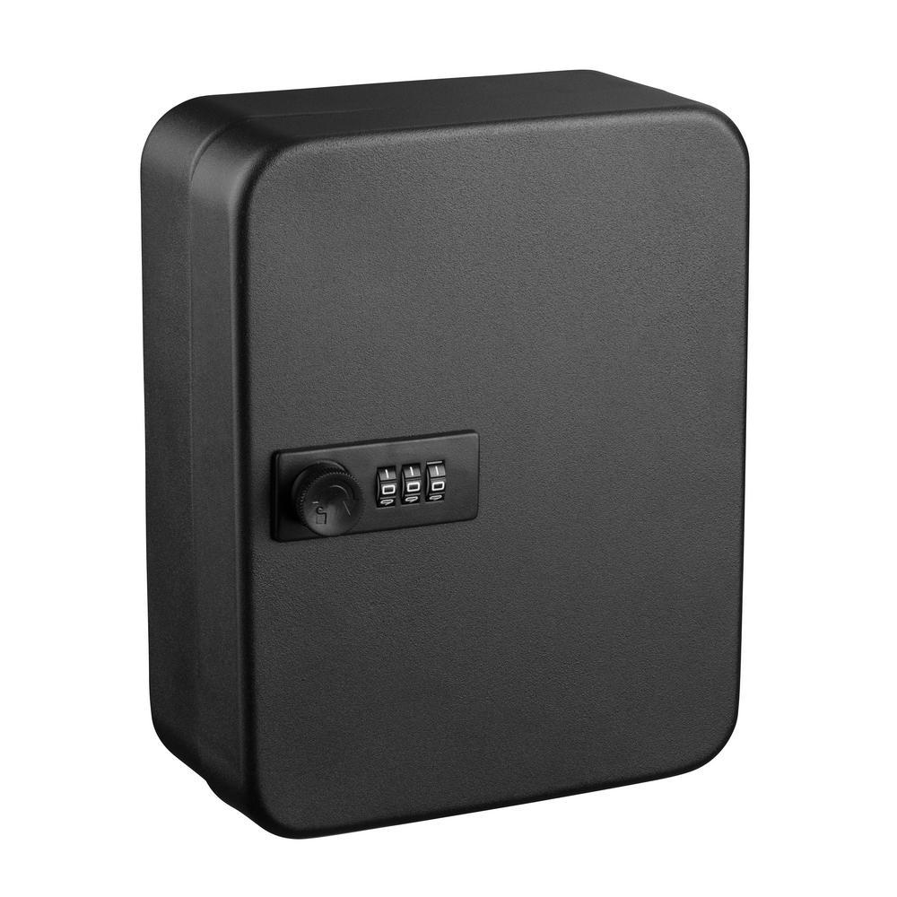 30-Key Steel Heavy-Duty Key Cabinet with Combination Lock, Black