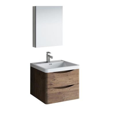 Tuscany 24 in. Modern Wall Hung Bath Vanity in Rosewood with Vanity Top in White with White Basin and Medicine Cabinet
